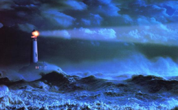 Lighthouse in storm with fading light