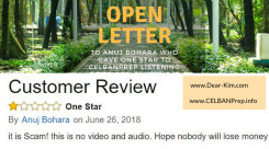Open Letter to Anuj Bohara who gave one star to CELBANPrep Listening Complete claiming it is a scam