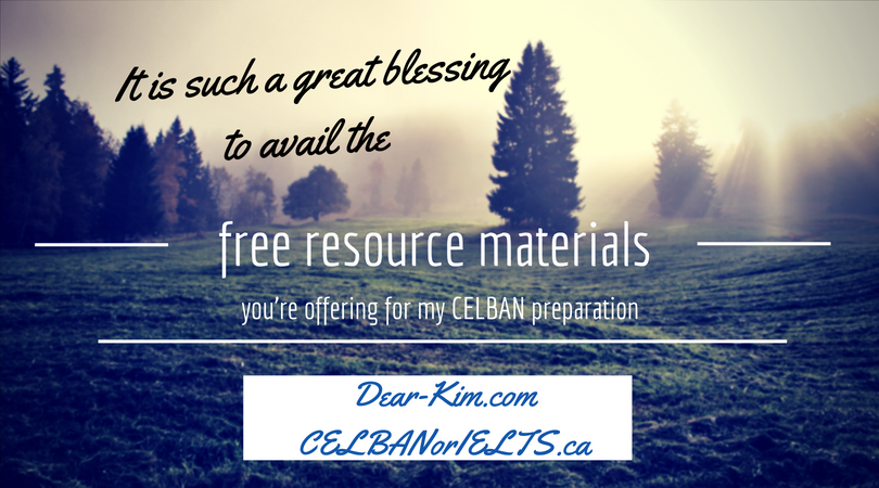 It is such a great blessing to avail of the free resource material you're offering for my CELBAN preparation